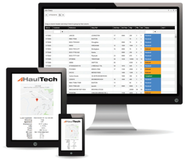 Example of three screens (PC, Tablet, smartphone) that can be used to manage and view fleet management processes through HaulTech Software Systems