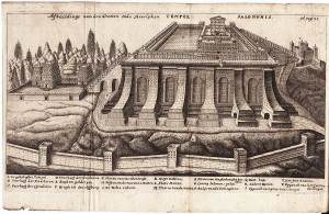Etching of model of Solomon's Temple created in 1600s by Rabbi Jacob Jehudah Leon