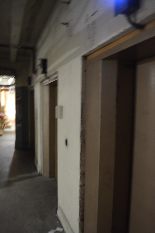 Elevator doors in the basement. High EMF in this area.
