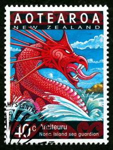 A Taniwha depicted on a New Zealand postage stamp