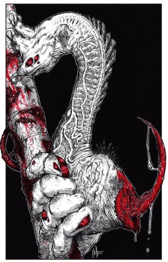 Evil looking centipede art Artist - John Clayton