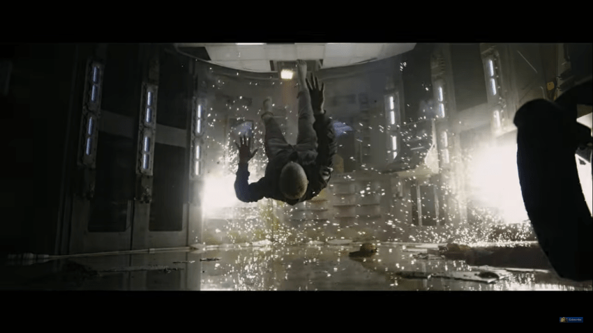 Explosion, actress flying backward.