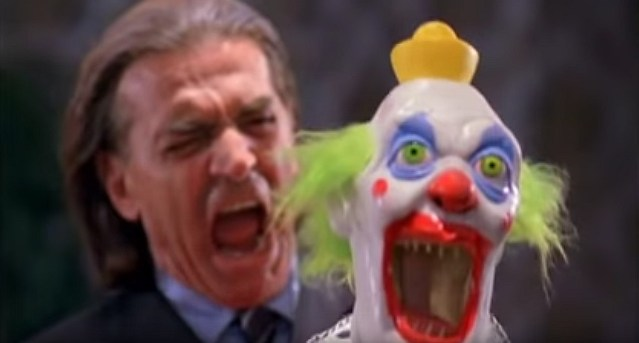 An image of a screaming clown and henchman from the film Puppet Master VS Demonic Toys