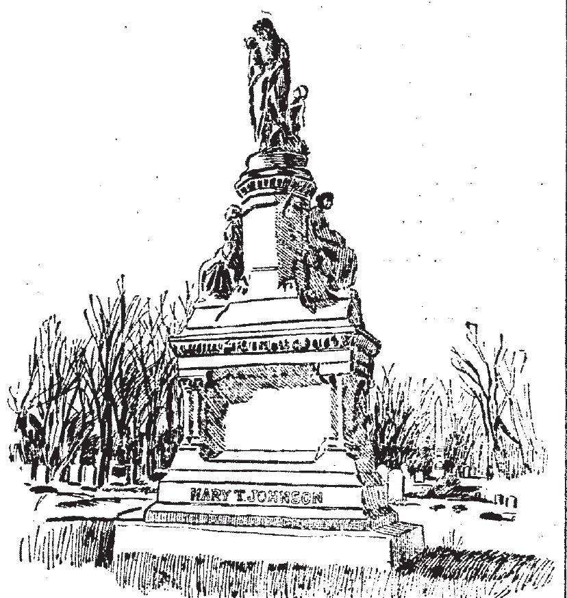 "Mrs ""Diamond"" Johnson's extravagant tombstone."