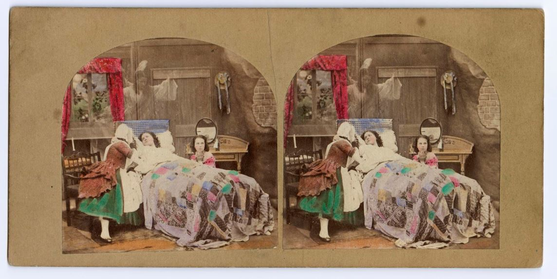May Queen Crowned in Coffin Stereocard showing The May Queen in Tennyson's poem on her death-bed http://www.nms.ac.uk/explore/collection-search-results/?item_id=20029777