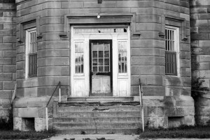 Trans-Allegheny Lunatic Asylum Entrance Black and White Photography