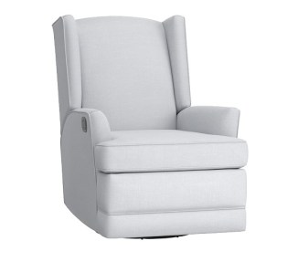 Modern Wingback Recliner from Pottery Barn Kids in the Washed Linen Cotton fabric in French Gray