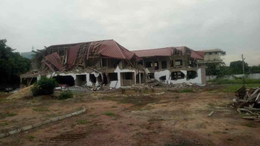 The demolished site of the Nigerian mission's staff quarters in Accra Ghana 2
