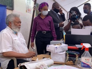 Former President Jerry John Rawlings, Has Visited The Pwd 2, Registration Centre In The Klottey Korle Constituency 1