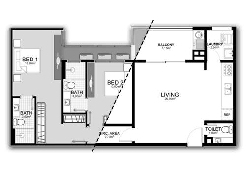 B&W 2D Floor Plan