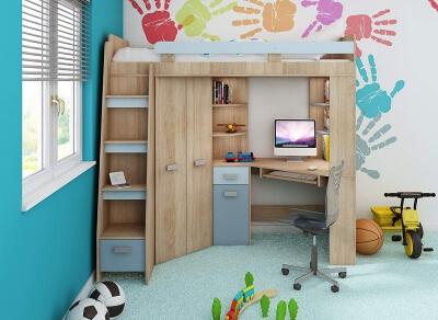 FurnitureByJDM Sonoma Eiche / Blau - Hochbett mit Schrank