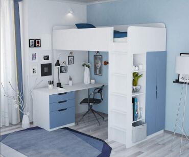 Polini Kids 1447 - Hochbett mit Schreibtisch und Schrank