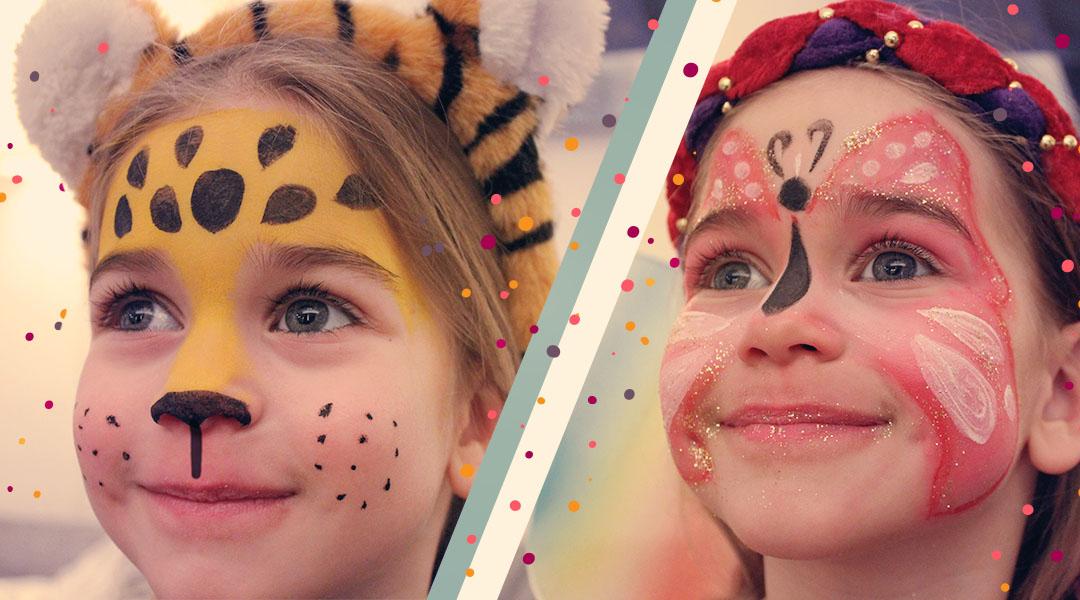 Haushaltsmuffelkarnevals Schmink Gesichter Leopard Und Schmetterling