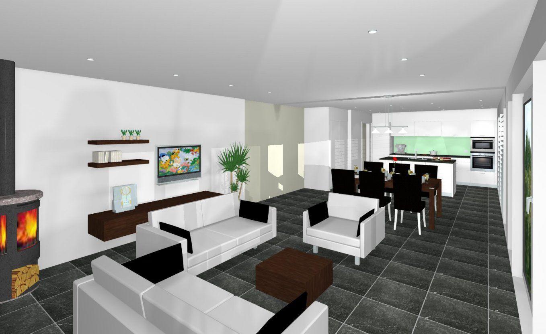 Moderne Wohnzimmer Mit Offene Küche Wandgestaltung Küche Wohnzimmer