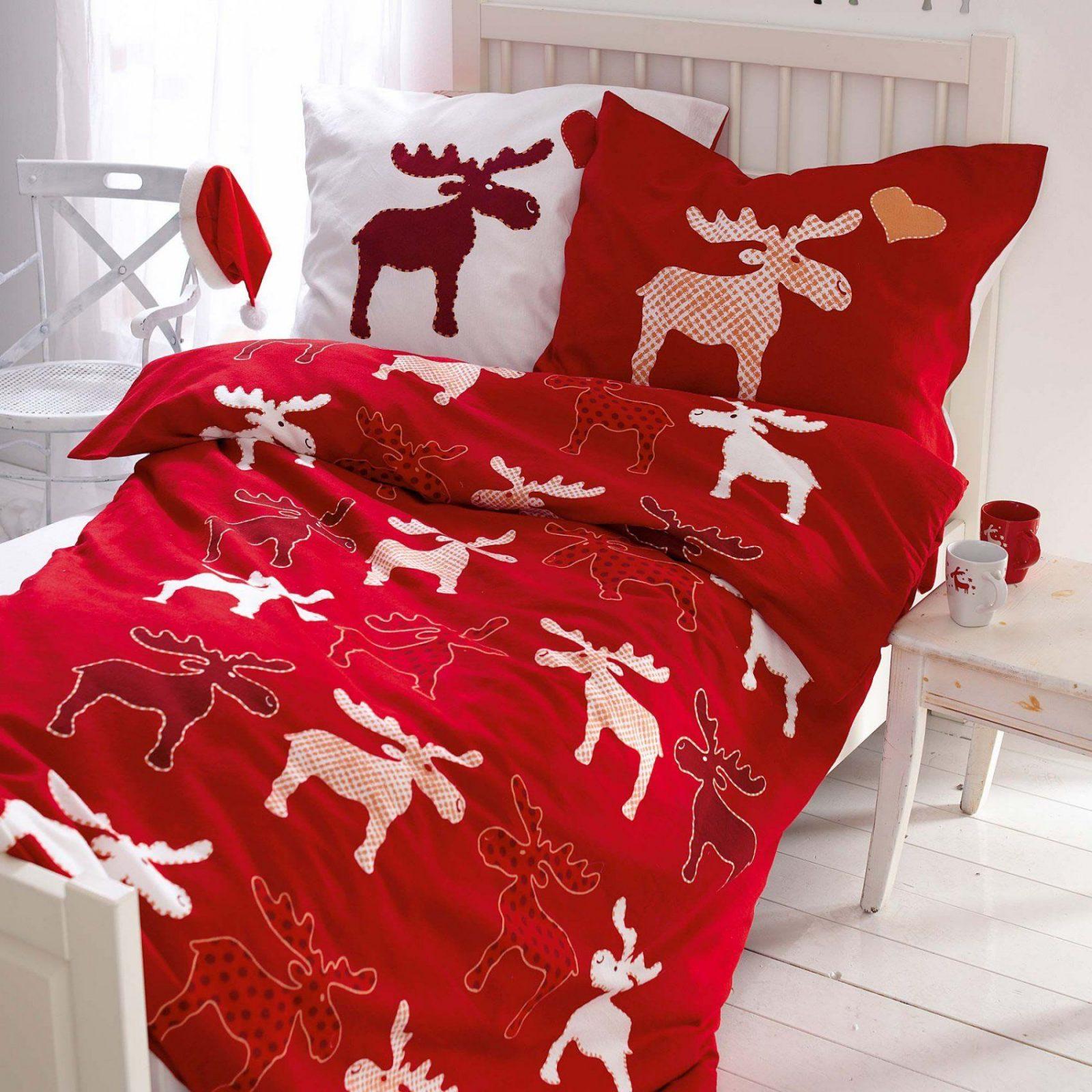 Bettwäsche 155x220 Weihnachten Mako Satin Bettwäsche Garnitur813