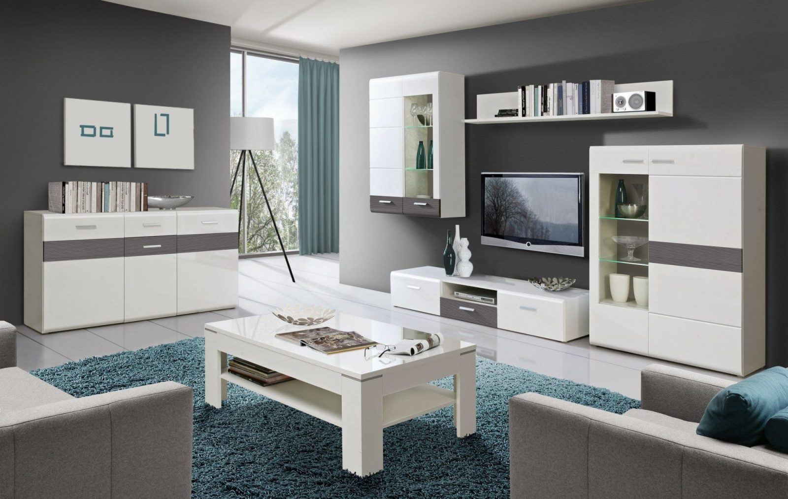 Wohnzimmer Grau Wei Streichen  Haus Design Ideen