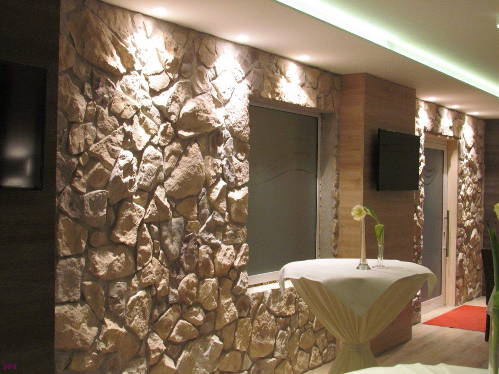 Wohnzimmer Wand Steinoptik Wandgestaltung Wohnzimmer