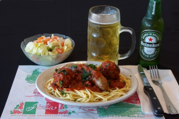 Spaghetti & Meatballs with Beer