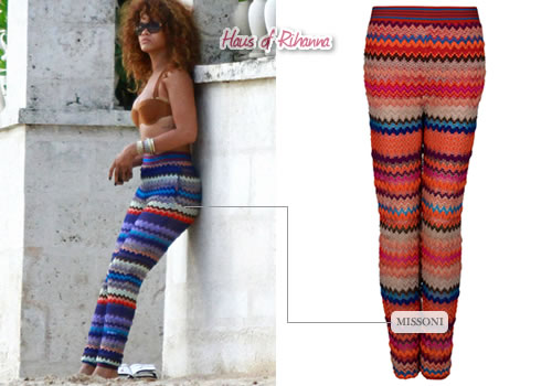 Rihanna in Missoni Aden Crochet pants