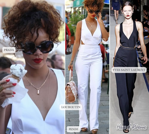 Rihanna in Yves Saint Laurent jumpsuit, Fendi shoes, Prada sunglasses, Christian Louboutin bag
