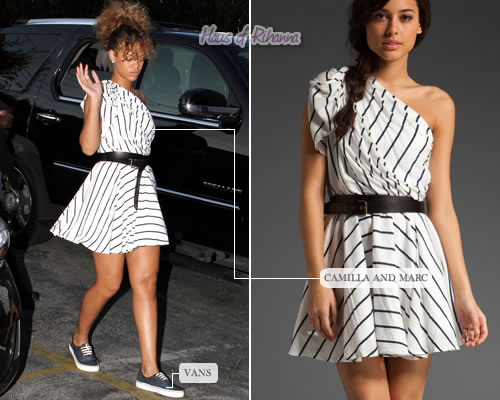 Rihanna in a Camilla and Marc striped dress