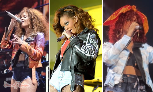 Rihanna wearing Claire Barrow jackets on Loud tour