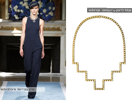 Rihanna in Salvatore Ferragamo jumpsuit; Solange Azagury-Partridge square necklace