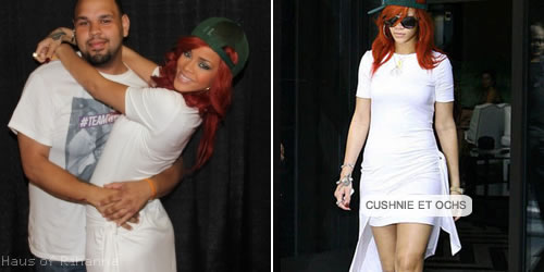 Rihanna in Cushnie et Ochs white assymetrical dress
