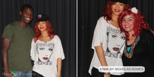 Rihanna in Krma t-shirt
