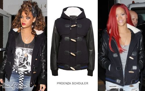 Rihanna in Proenza Schouler hooded toggle coat