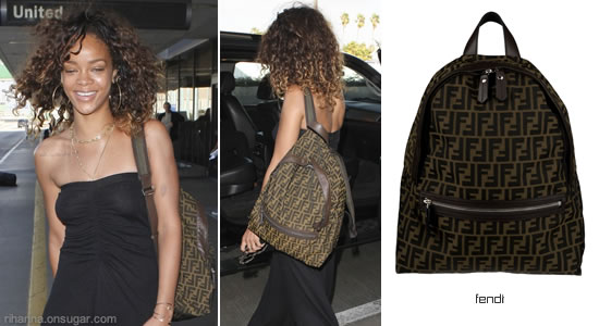 Rihanna at LAX with Fendi Zucca backpack