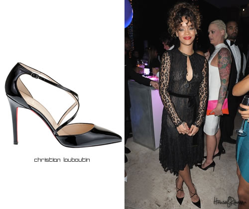 Rihanna in Tom Ford black leopard lace dress
