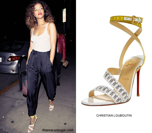 Rihanna in Christian Louboutin Police tape sandals