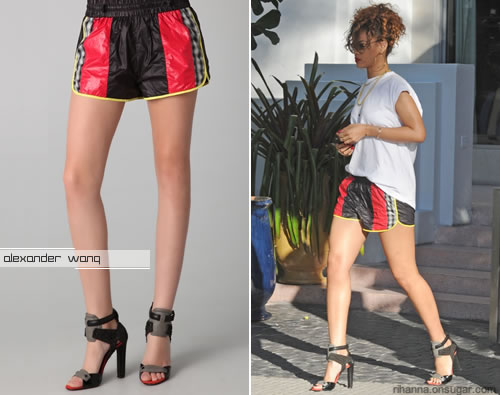 Rihanna in Alexander Wang Resort 2012 shorts and heels
