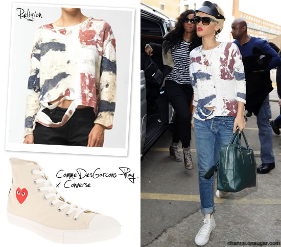 Rihanna in Religion distressed shirt and Converse