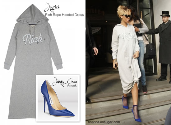 Rihanna in blue Jimmy Choo shoes and Joyrich hoodie dress