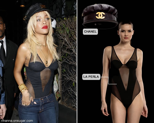 Rihanna in La Perla Bodysuit and Chanel Hat