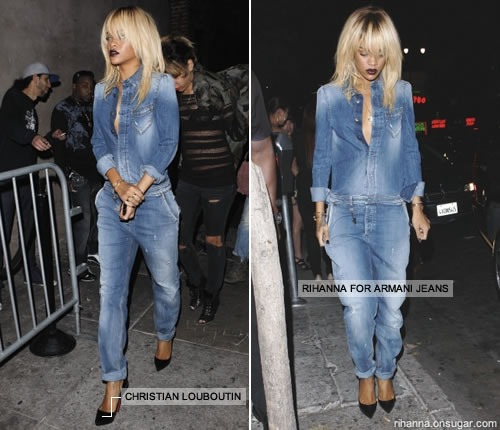 Rihanna in Armani denim jumpsuit