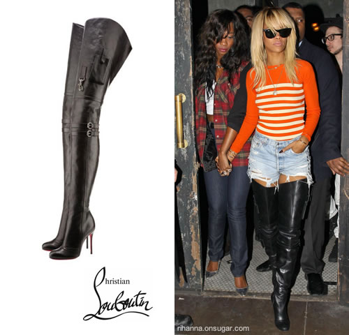Rihanna in Christian Louboutin Sea.nn Girl Boots