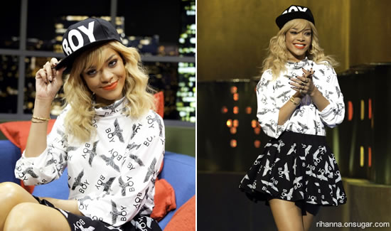 Rihanna in Boy London at Jonathan Ross