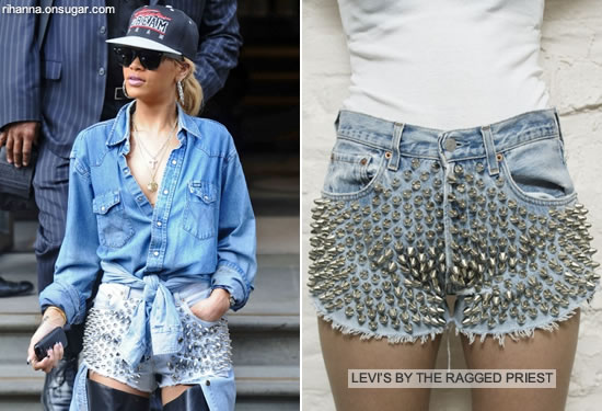 Rihanna in studded Levi's shorts by The Ragged Priest