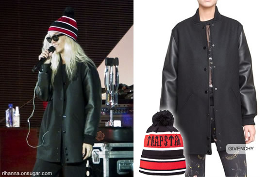 Rihanna in Trapstar hat and Givenchy bomber jacket
