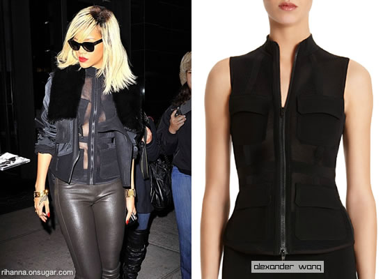 Rihanna in Alexander Wang jacket and sheer vest
