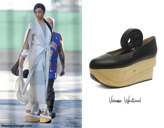 Rihanna in Princess of China wearing Vivienne Westwood rocking horse ballerina shoes
