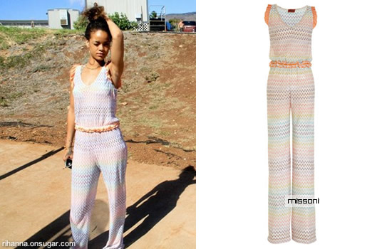 Rihanna in Missoni jumpsuit in Hawaii