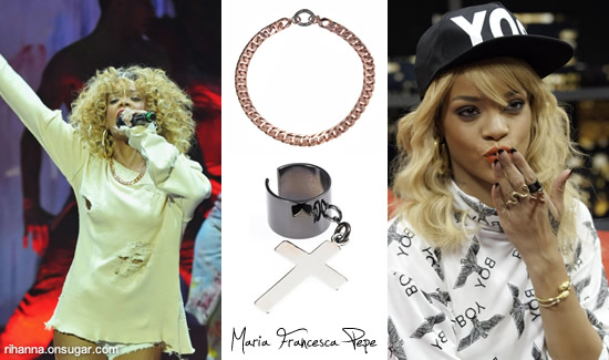 Rihanna in Maria Francesca Pepe ring and necklace