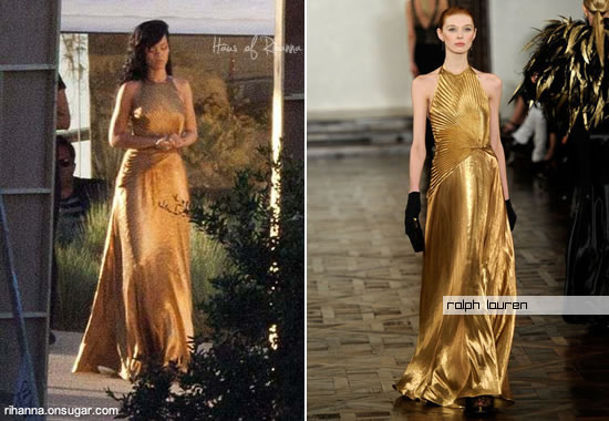 Rihanna in gold Ralph Lauren dress for Harper's Bazaar