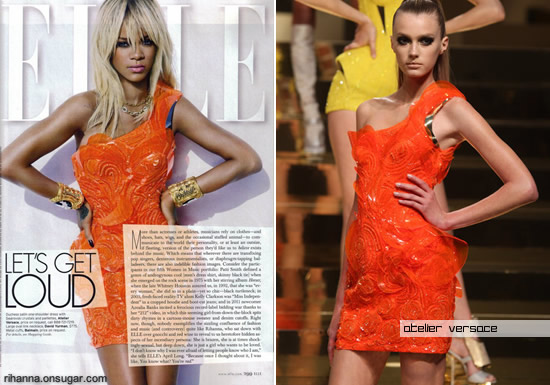 Rihanna wearing Atelier Versace dress in Elle magazine May 2012