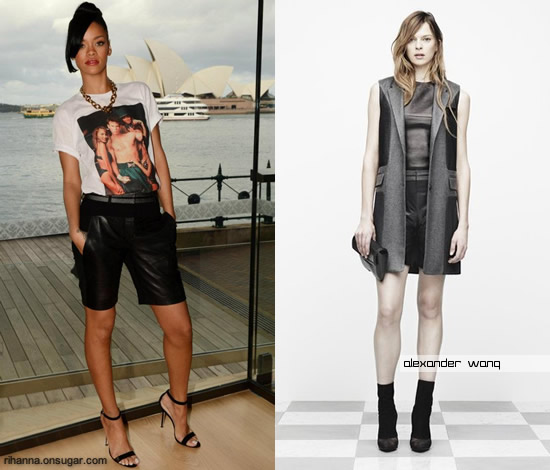 Rihanna in Alexander Wang shorts at Battleship photocall in Austrailia