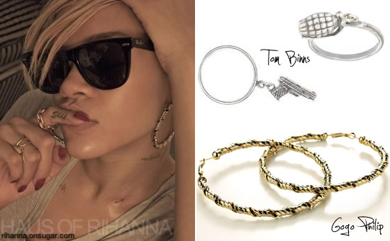 Rihanna in Gogo Philip hoop earrings, Tom Binns Amo rings, Jennifer Fisher chain link ring
